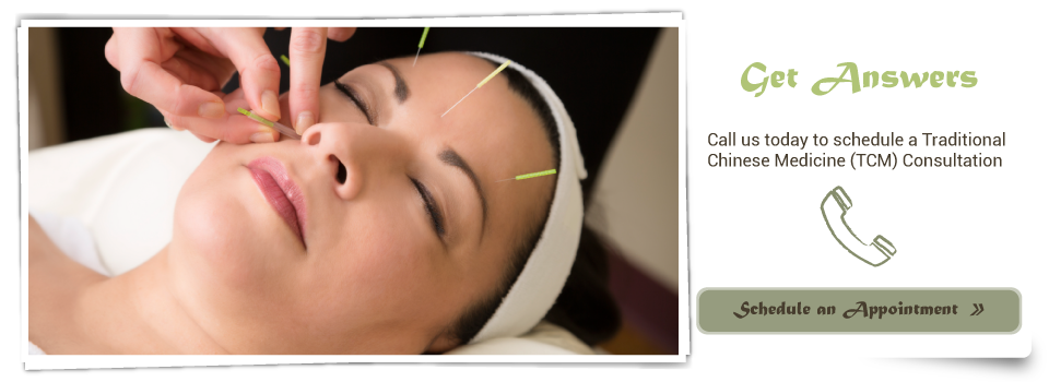 woman getting acupuncture needles- Get Answers Call us today to schedule a Traditional Chinese Medicine (TCM) Consultation Schedule an Appointment